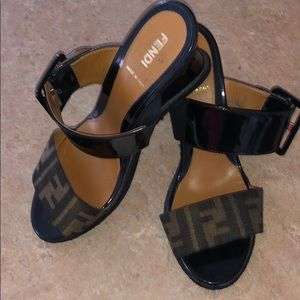 Fendi wedge sandals with buckle